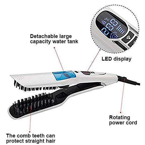Steam Hair Straightener Brush Fast Heat Electric Smooth Straightening Comb with Wide Teeth Ceramic Dry Wet Flat Iron(White)
