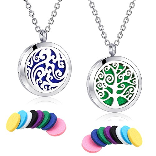"Essential Oil Diffuser Necklace Aromatherapy Locket Pendant Jewelry Stainless Steel 24"" Chain with Felt Pads"