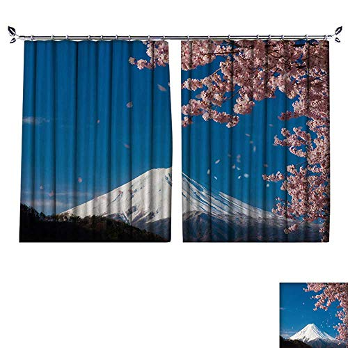 (DESPKON Environmental Protection Material Polyester Mount Fuji,Cherry Tree for Living Room Window,Sun Insulation. W72 x L72)