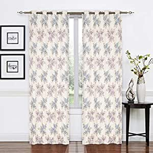 Elite Barn Classic Flower Design Jacquard Cotton Blue and Purple Pair of Curtains, 270cm x 136cm
