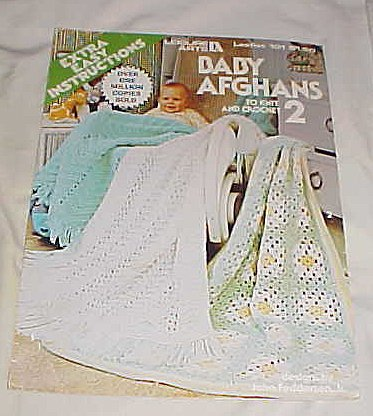 Baby Afghans to Knit and Crochet (Extra Easy Instructions) Leisure Arts Leaflet 101 1977 Easy Knit Baby Afghans