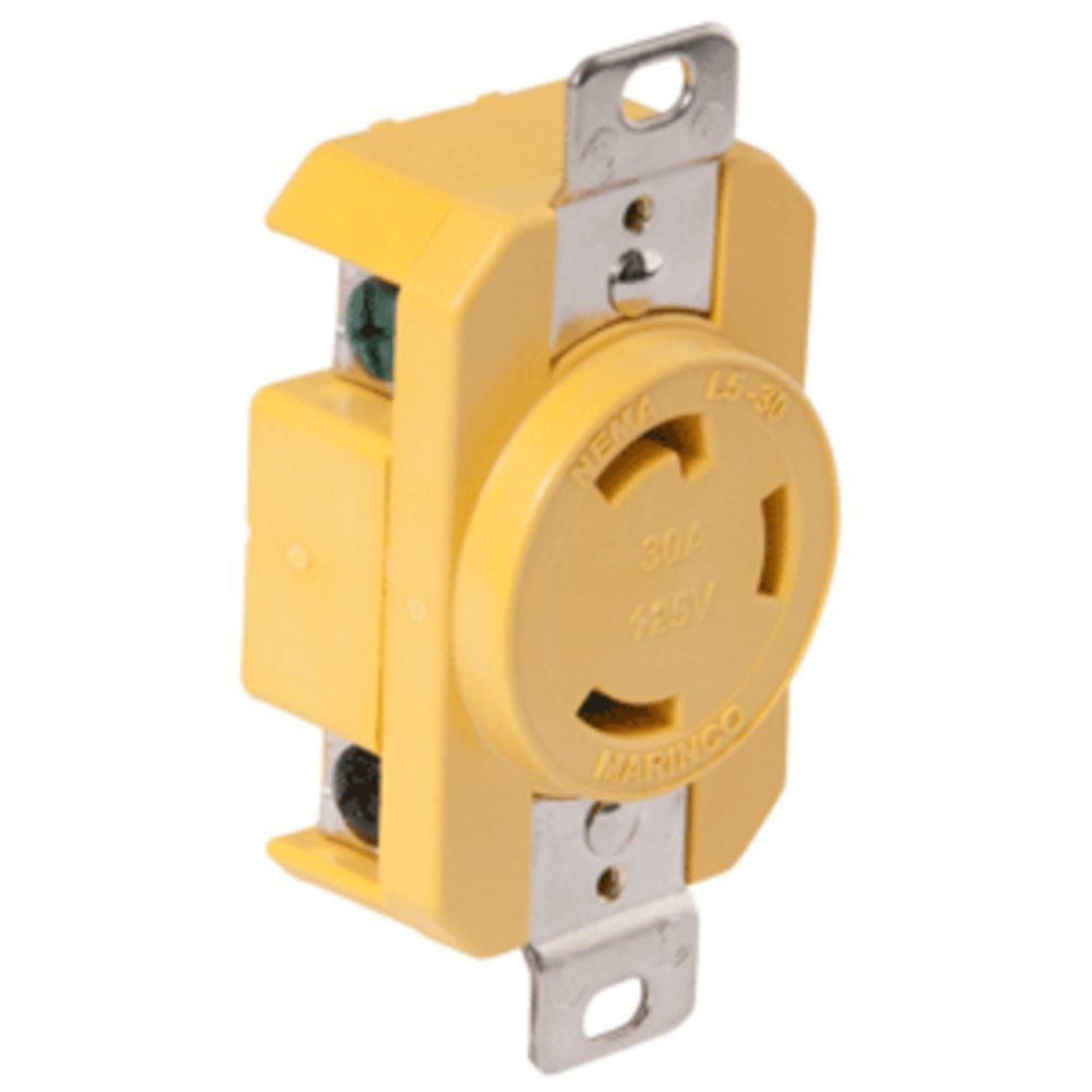 Marinco 305CRR 30A Receptacle - Yellow - 125V - 1 Year Direct Manufacturer Warranty