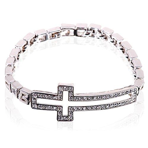 Sideways Crystal Cross Fashion (Pave Clear Swarovski Elements Crystal Sideways Silver Cross)
