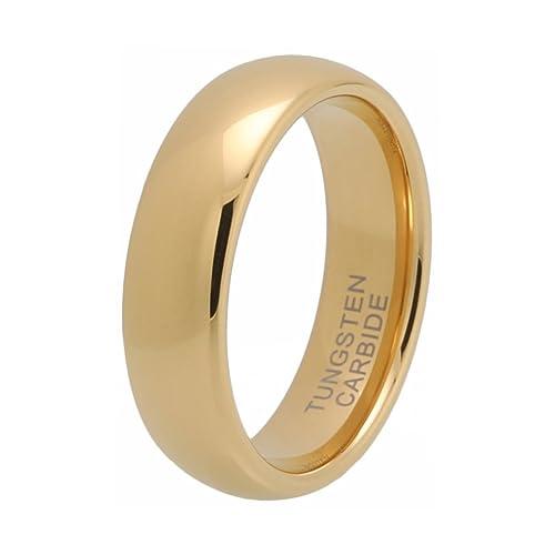 Tungsteno Anillo de boda banda 18 K bañados en oro, curvada, alto pulido 6