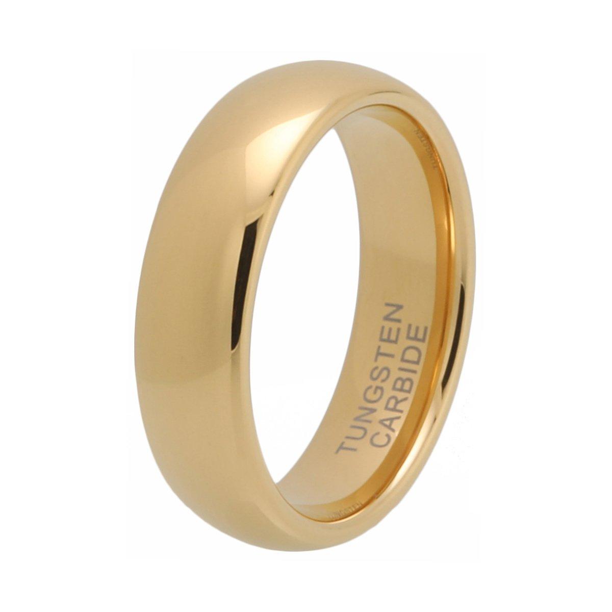 iTungsten 6mm 8mm Gold Tungsten Carbide Rings for Men Women Wedding Bands Domed Comfort Fit