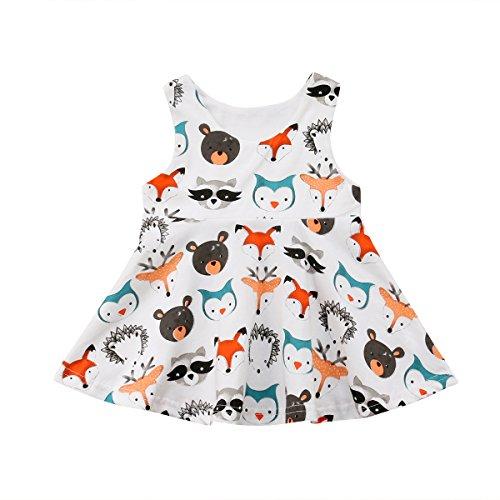 Cute Newborn Baby Girl Boy Animal Print Sleeveless Romper Jumpsuit One-Piece Bodysuit (Dress, 0-6 Months)