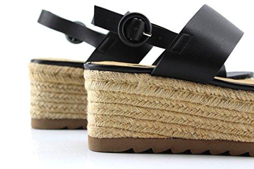 Modelisa - Sandalias Tiras Plataforma Mujer Negro