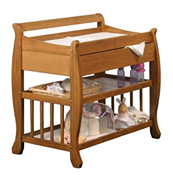 Great Stork Craft Lennox Changing Table With Drawer, Honey Pine