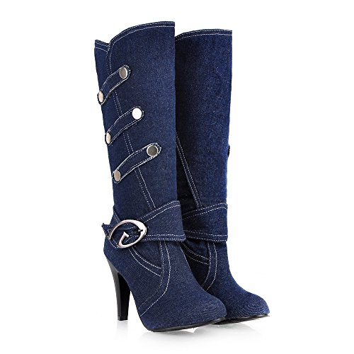 CXQ amp;X qin Denim Big High Size Long Blue Shoes Heels Women's Boots Dark Boots Stiletto 0xarxw