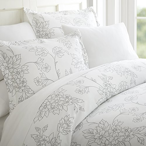 - Becky Cameron Duvet Cover Set Vine Patterned, Queen, Gray