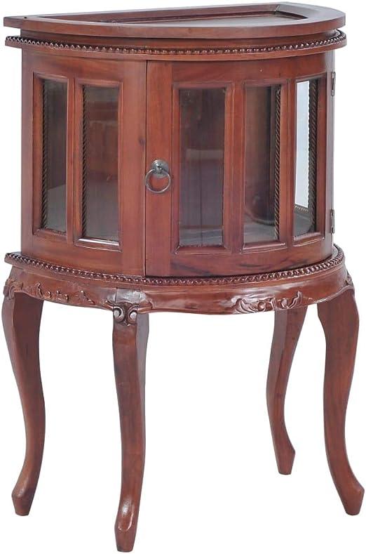 Festnight Vitrinas para Colecciones Salon de Madera Maciza de Caoba Semicircular Estilo Vintage 50x35x76 cm