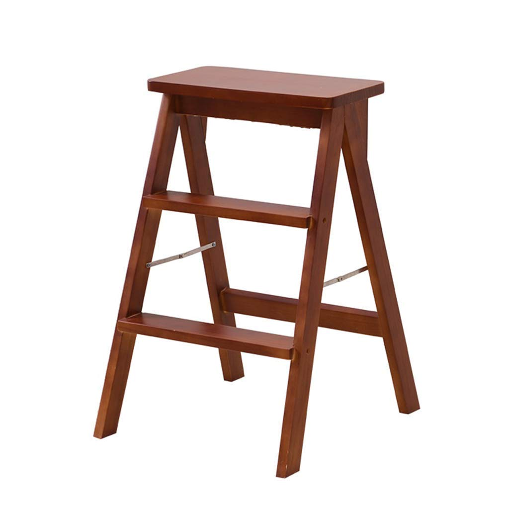 Brown Wooden Ladder Folding Stool Home Kitchen High Stool Solid Wood Dpace Multi-Function Portable 3-Step Ladder Folding,Wood