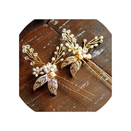 Gold Bride Hairpin Hair Combs Set Luxury Pearl Crystal Jewelry Bridal Hair Metal Hairband Wedding,Hair -