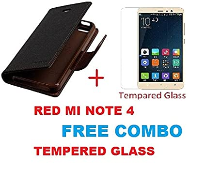 new product 41ec7 fd2d5 sun tigers (COMBO OFFER) for (Xiaomi Redmi Note 4) BROWN Premium Wallet  Flip Cover + Premium Tempered Glass Screen Protector.....{BROWN}