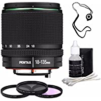 Pentax SMC DA 18-135mm F/3.5-5.6 ED AL (IF) DC WR Lens + 3 Piece Filter Kit + Deluxe 3pc Lens Cleaning Kit + Lens Cap Keeper 6AVE Bundle
