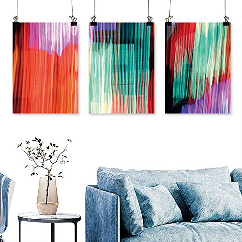 (SCOCICI1588 Three Consecutive Painting Frameless neon Lights Taken on a Long Exposure with The Camera Moving Around to Create Light Trails Artwork for Wall Decor Triptych 12 INCH X 16)