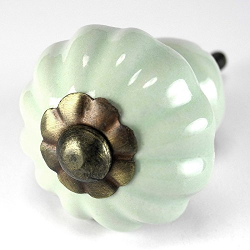 Bronze Ceramic Knobs (Romantic Decor C117RLSM Retro Green Stoneware Fluted Drawer Pull with Antique Bronze Hardware - 1-3/8