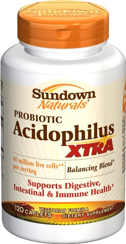 Sundown Extra Acidophilus, 120 Caplets (Pack of 2)