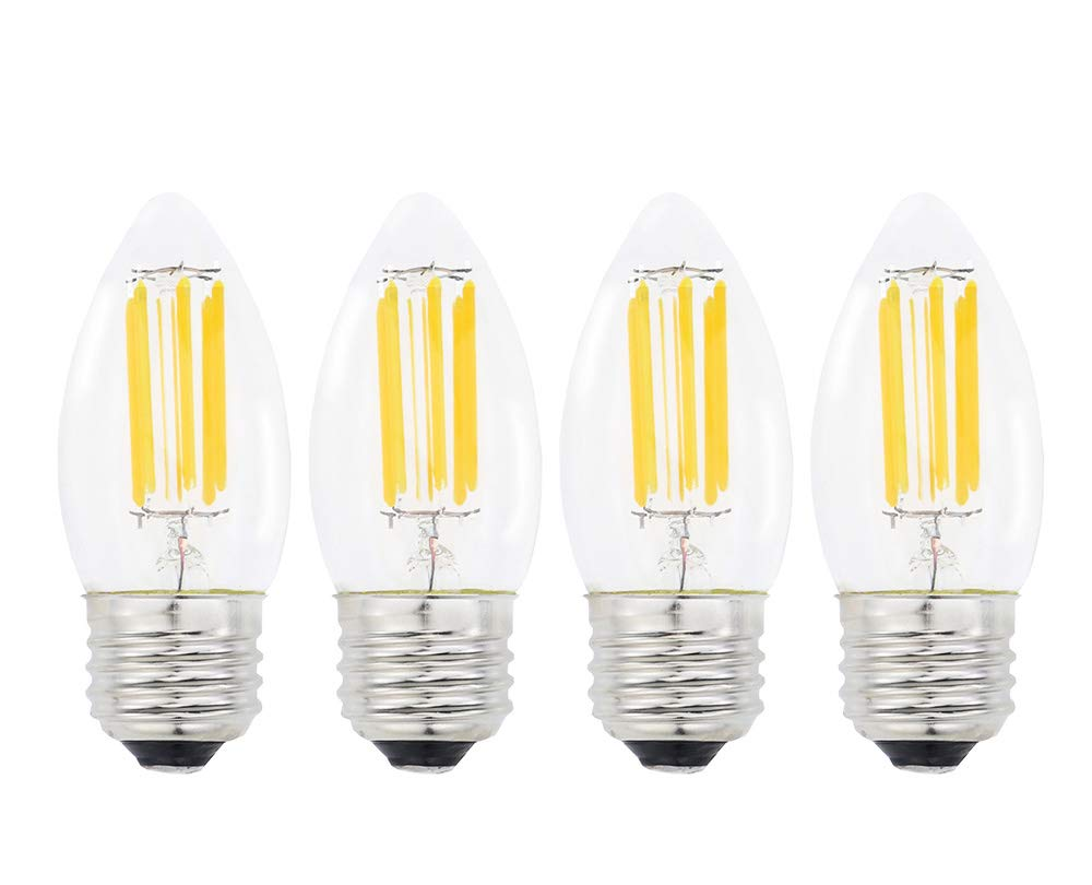 Lamsky E26口金 LEDフィラメントキャンドル電球 4パック 6W 2700K 温白色 600LM C35形状 バレットトップ 60W白熱電球相当 調光不可   B07L7KH3MR