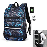 DOLIROX Skateboard Backpack Anti Theft Backpack Laptop School Bag with USB Charging Port & Headphone Hole Fits 15.6 Inch Laptop, Business Notebook Suited for College Student, Men and Women (Blue Grey)
