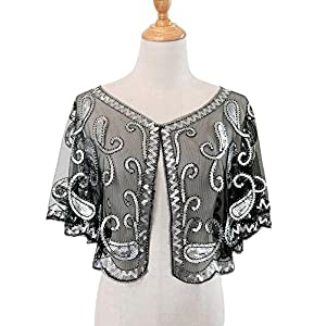 L'VOW Donna 1920s Flapper Scialle con Paillettes Deco da sera Cape Stola Bolero Flapper Perline Coprire Up