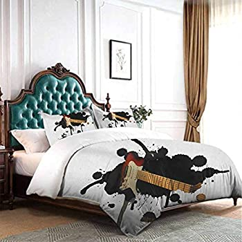 Image of dsdsgog European Style Bedding Popstar Party,Dj Bulldog with Headphones Listening to Music Behind White Banner, Pale Brown Black Red 90x104 inch for Girl Boys Daycare Preschool Lightweight Home and Kitchen