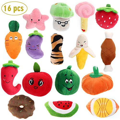 (RAIN QUEEN Squeaky Dog Toys for Small Dog, Medium Dogs, Plush Vegetable & Fruits Dog Toy Set for Puppy, Puppy Squeaky Cute Plush Dog Toys-16 PCS)