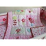 New Pink Ladybug Baby Girls 7 Pieces Crib Bedding Set With Bumper