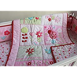 New Pink Ladybug Flower for girls 7 Pieces Crib Bedding Set With Bumper