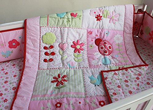 Ladies Machine Embroidered Quilt - 1 PC Nursery Crib Quilted Comforter Baby Girl Baby Boy Crib Bed Quilt/Comforter Baby Gift Idea (Pink Ladybug)