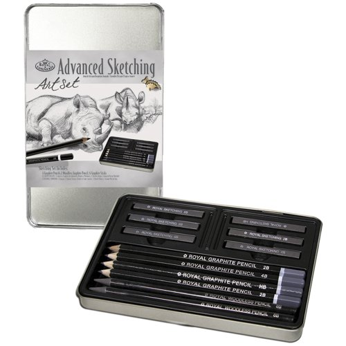 Royal & Langnickel Royal Small Tin Graphite Sketching Art Set-12 Pack Party Supplies, One Size, Other -