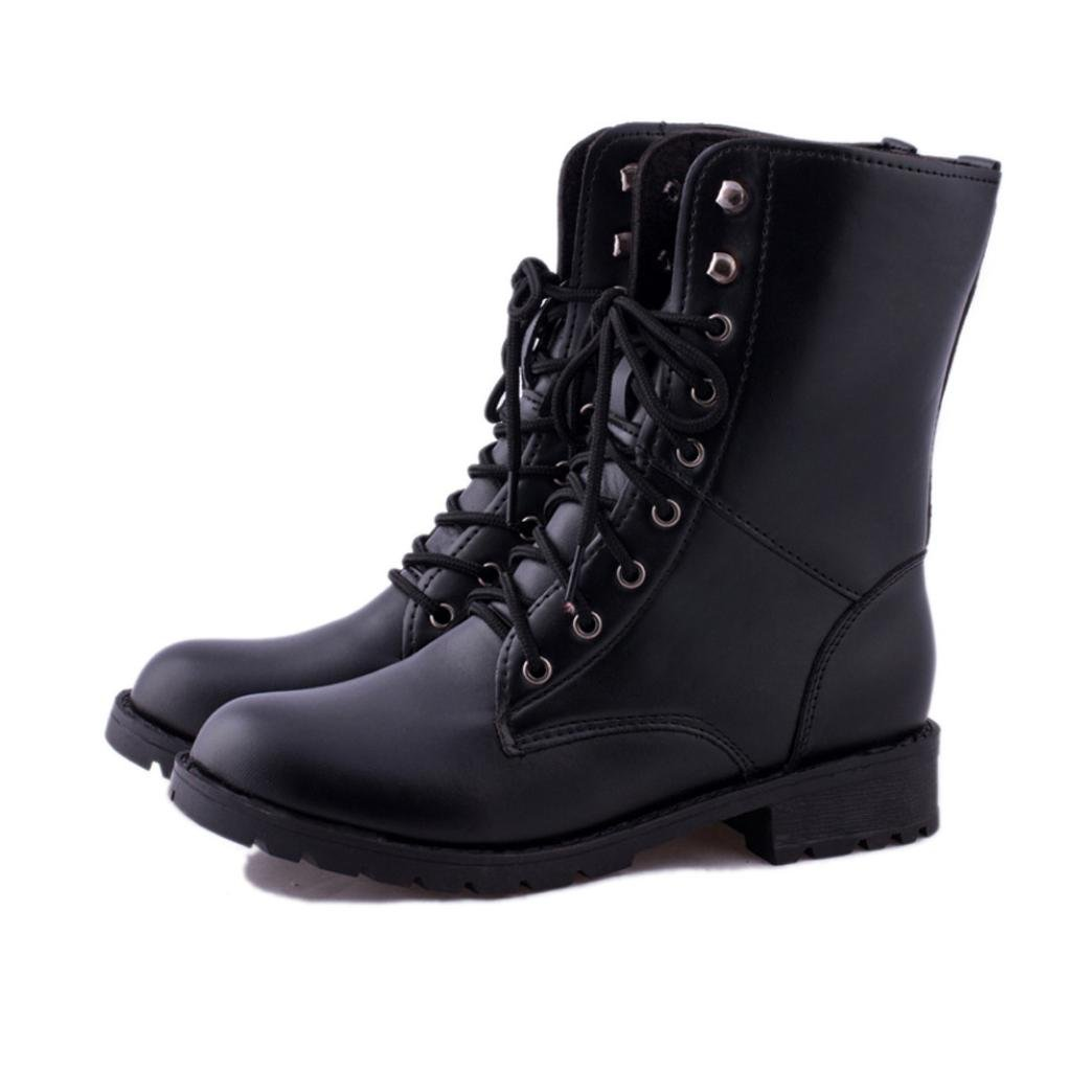 BeautyVan—— Martin Boots Women Men Lace up Army Combat Black Boots Shoes Lace up Casual Boots Martin Boots (US:8.5, Black)
