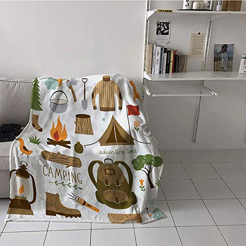 Khaki home Children's Blanket Multi-Function Blanket for Sofa Couch Bed (60 by 62 Inch,Adventure,Camping Equipment Sleeping Bag Boots Campfire Shovel Hatchet Log Artwork Print,Multicolor (Faux Log Basket Leather)