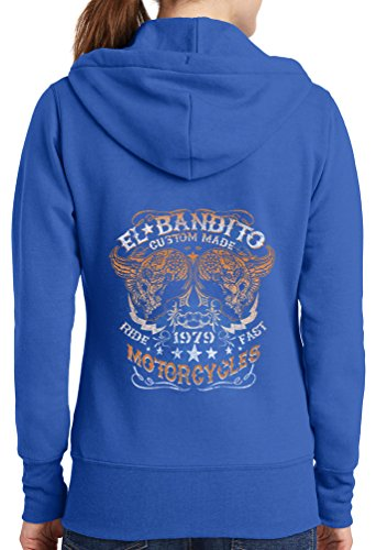 Womens El Bandito Full Zip Hoodie, Royal, 2X