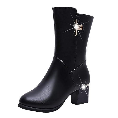 Botas para Mujer,Mujeres Moda Plaza de Cuero Cremallera Caliente Gruesa Martin Botas Redondas Zapatos