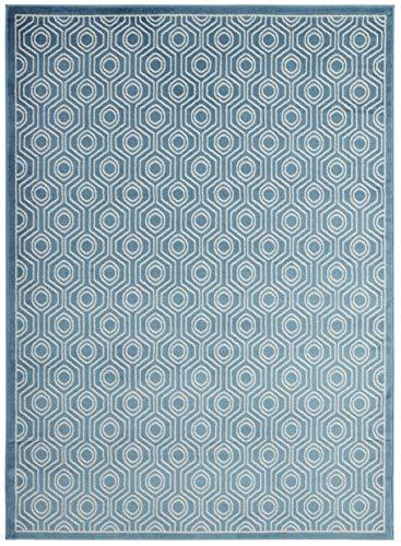 Diagona Designs Alpina Collection Contemporary Geometric Moroccan Trellis Design 8′ X 10′ Area Rug, 94″ W x 118″ L, Blue/Ivory (ALP9087)