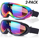 Rngeo Ski Goggles, Pack of 2, Snowboard Goggles for Kids, Boys & Girls, Youth, Men & Women, with UV 400 Protection, Wind Resistance, Anti-Glare Lenses, 2018 New Edition