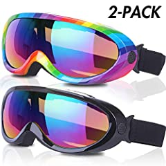 Rngeo Ski Goggles, 2018 New Edition, the Best Partner for Skiing in Winter with Your Family and Friends.FEATURES- Anti-glare- Windproof- Fluent shape- Better air vents- Fit for all people- Wide view angle- Colorful & vivid- UV 400 protect...
