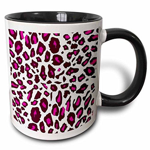 - 3dRose 3dRose Hot Pink Snow Leopard print - white girly cheetah spots - stylish animal fur pattern - trendy glam - Two Tone Black Mug, 11oz (mug_112934_4), Black/White