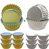 Muffin Cup Liners Paper Gold and Silver 400 Pieces Cupcake Cups Cake Baking for Wedding Baby Bridal Shower Kids Birthday Party