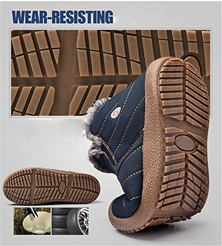 Bleu Antidérapage Femme Chaussures Neige Tqgold Boots Hiver Imperméable Chaudes De Bottes Homme Cheville 7Z5qxR85
