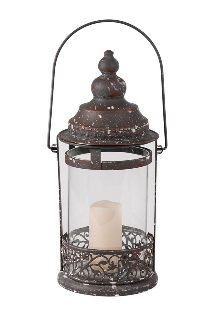 Amazon Rustic Large Metal And Glass Round Candle Holder Decorative Hanging Lantern Home Kitchen