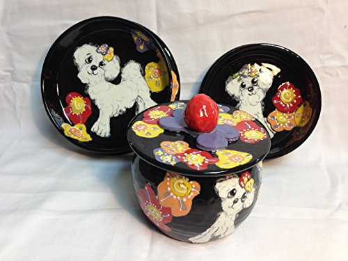 Two 6'' Pet Bowls for Food and Water and a Treat Jar. Personalized at no Charge. Signed by Artist, Debby Carman. by Faux Paw Productions, Inc., Laguna Beach, CA