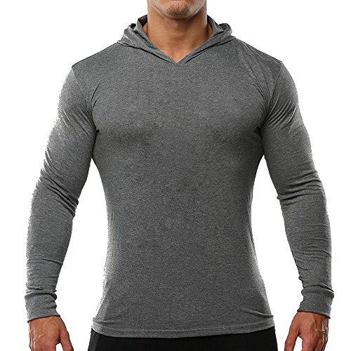 S/s Hoody Sweatshirts (Slimbt Men's Bodybuilding Tapered Slim Fit Sweat-shirt Deep V Neck Muscle Hoodie Gray S Plain)