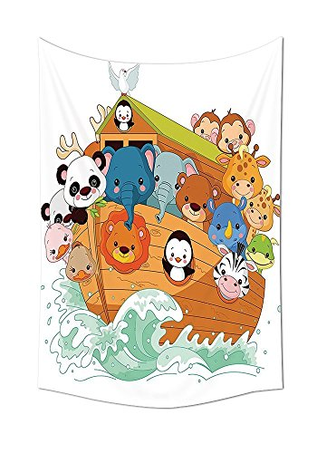 asddcdfdd Noahs Ark Decor Tapestry Wall Hanging Cute Graphic Print of Noahs with Mythical Animals in the Boat Ancient Story Lion Sea Home Bedroom Living Room Dorm Decor Multi