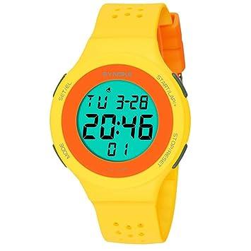 Reloj deportivo digital impermeable para niños, con cronómetro y alarma, reloj de pulsera analógico LED con cronógrafo, color amarillo: Amazon.es: Deportes ...