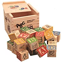 Wooden ABC Building Blocks for Kids Numbers, Letters, Animals Educational Learning Toys with Storage Box- Puzzle Blocks