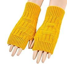 LerBen Women's Knitted Fingerless Gloves Winter Arm Warmer Gloves Thumb Hole Mittens