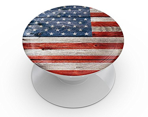 Wood Pattern Design Skinz Premium Skin Decal for PopSockets SmartPhone Stand - Wooden Grungy American Flag