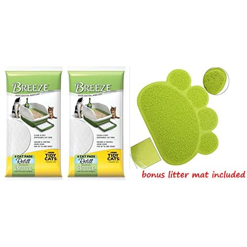"Breeze Tidy Cat Litter Pads 16.9""x11.4"" - 2 pack of 4 pads (2-Pack Bundle)"